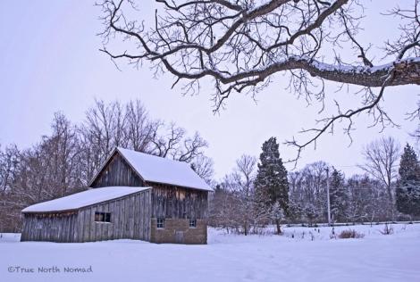 point pelee park ontario leamington snow winter barn wood