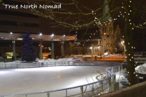 outdoor skate rink church night cold winter lights