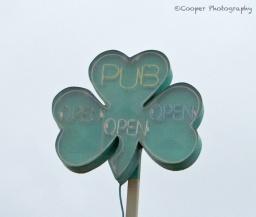 clover, pub, sign