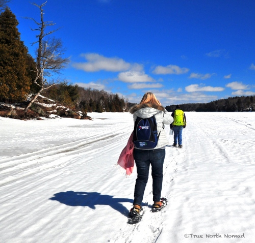 river, ice, hike, snowshoes, melting