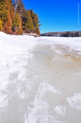 ice, melting, river, winter, hike