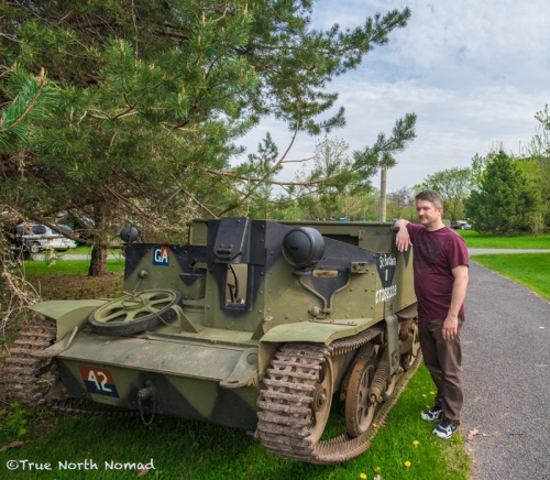 Q admiring this old tank. Any equipment in Canada never left North American soil. Jeeps, tanks and trucks that were sent to Europe were abandoned there at the end of each war.