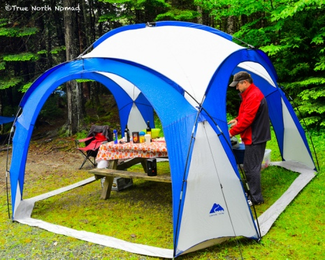 rain tent camping forest