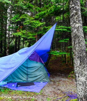 rain tarp tent camping forest