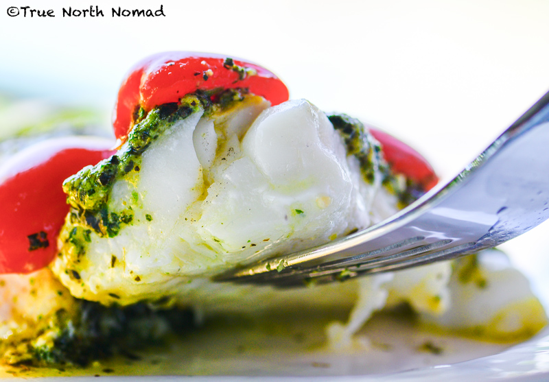 Basil pesto white fish easy cooking while travelling for Cooking white fish