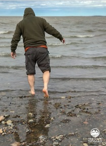 Q taking a dip in the Arctic Ocean
